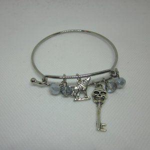 Skull & Wolf Charm Bangle Bracelet